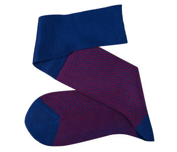 VICCEL Knee Socks Herringbone Royal Blue / Red
