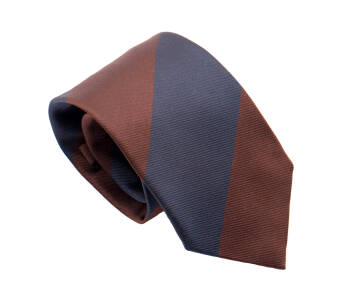 PATINE Tie Silk Stripe Marron / Bleu Petrol