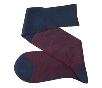 VICCEL Knee Socks Herringbone Navy Blue / Burgundy