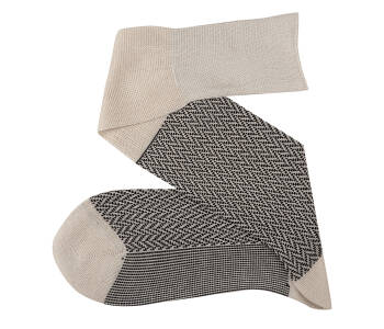 VICCEL Knee Socks Herringbone Raw / Black