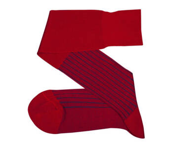 VICCEL Knee Socks Red Royal Blue Shadow Stripe
