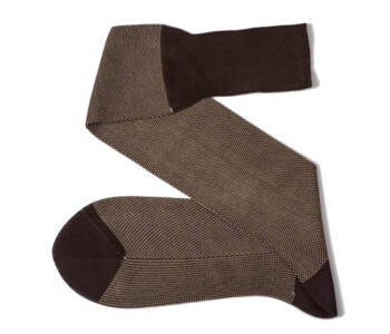 VICCEL Knee Socks Birdseye Brown / Beige