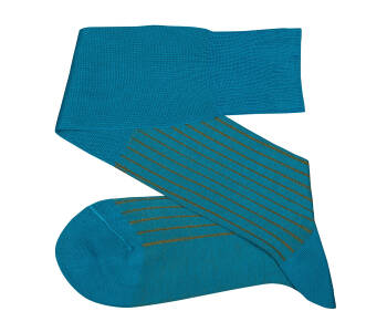 VICCEL Knee Socks Turquoise Mustard Shadow Stripe