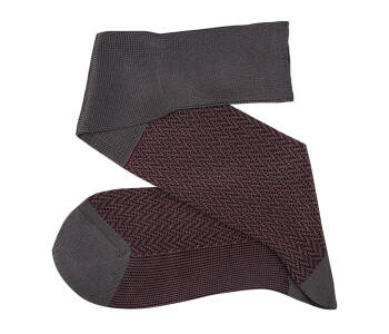 VICCEL Knee Socks Herringbone Gray / Burgundy