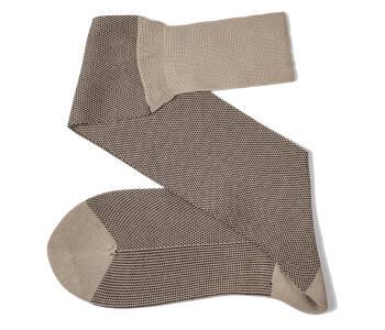 VICCEL Knee Socks Birdseye Beige / Brown
