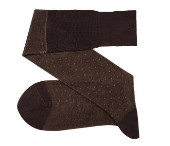VICCEL Knee Socks Pin Dots Brown / Beige