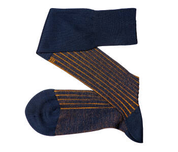 VICCEL Knee Socks Shadow Stripe Navy Blue Mustard