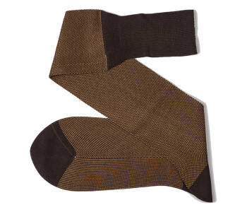 VICCEL Knee Socks Birdseye Brown / Mustard