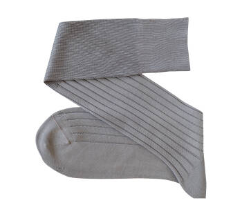 VICCEL Knee Socks Solid Light Gray Cotton