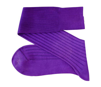 VICCEL Knee Socks Solid Purple Cotton