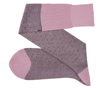 VICCEL Knee Socks Pin Dots Pink / Burgundy