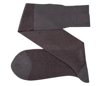 VICCEL Knee Socks Pin Dots Gray / Burgundy