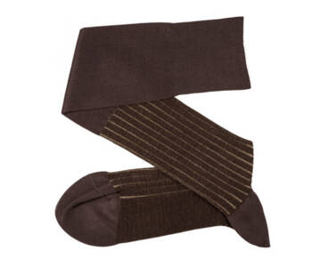 VICCEL Knee Socks Shadow Stripe Brown Beige