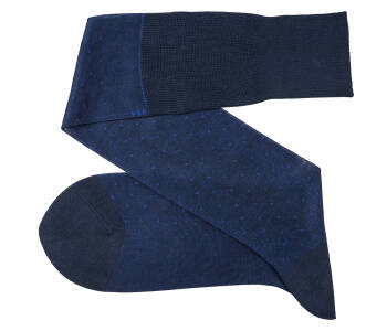 VICCEL Knee Socks Pin Dots Navy Blue / Royal Blue