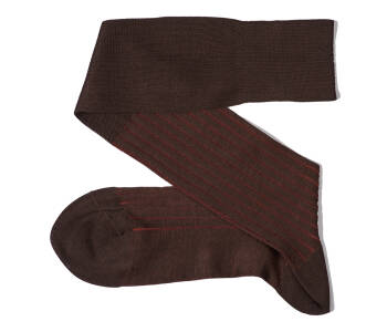 VICCEL Knee Socks Brown Taba Shadow Stripe