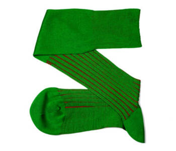 VICCEL Knee Socks Shadow Stripe Pistacio Green Red