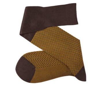 VICCEL Knee Socks Herringbone Brown / Mustard
